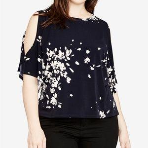 Rachel Rachel Roy Plus Floral Cold-Shoulder Top